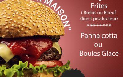 4 juillet 2020 – Menu spécial Burger à la Brebis ou au Boeuf